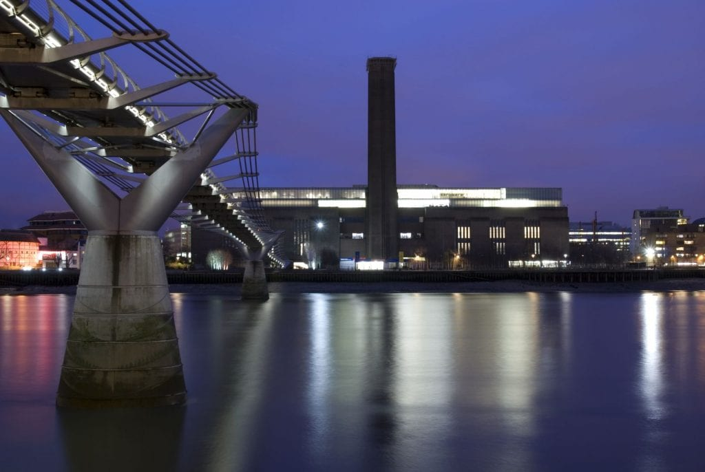 Tate Modern gallery on banks River Thames in London