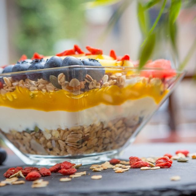 Granola bowl served at Clayton Hotel City of London