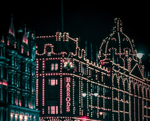 Christmas lights at harrods